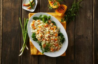 Jasmine rice with butternut squash and vegetables