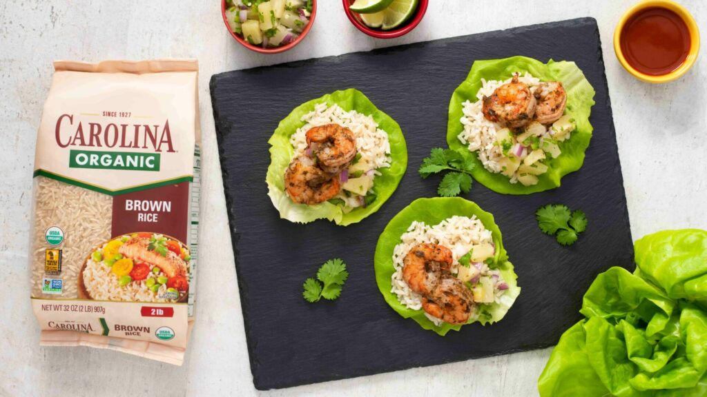 lettuce-wraps-with-organic-brown-rice-jerk-shrimp-and-pineapple-sauce