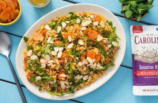 moroccan-rice-salad-with-dried-apricots-roasted-carrots-and-arugula