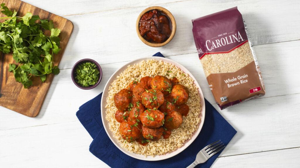 air-fried-homemade-tuna-meatballs-with-chipotles-in-adobo-served-over-brown-rice