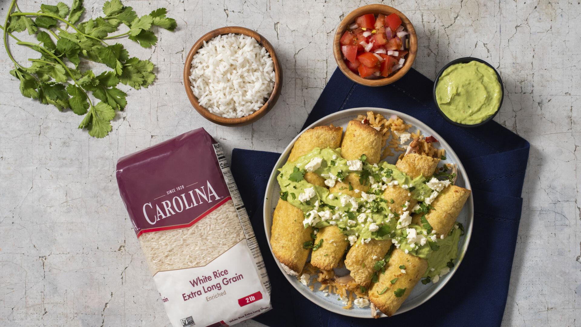 Tacos Dorado with Rice and Beans