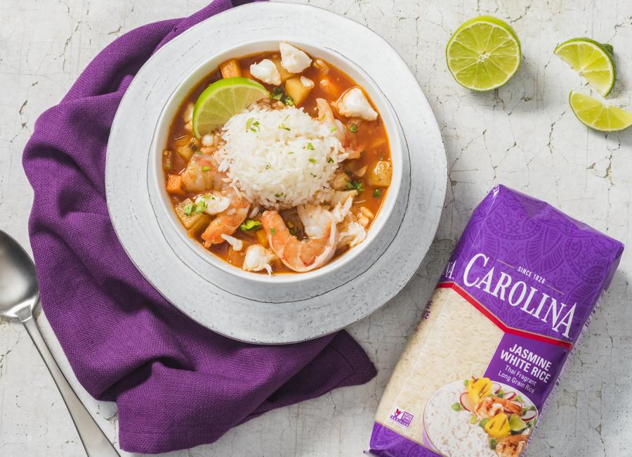 Sopa de camarón con arroz jazmín