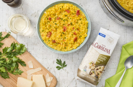 rice-cooker-creamy-saffron-risotto-made-with-arborio-rice-and-Parmesan-cheese