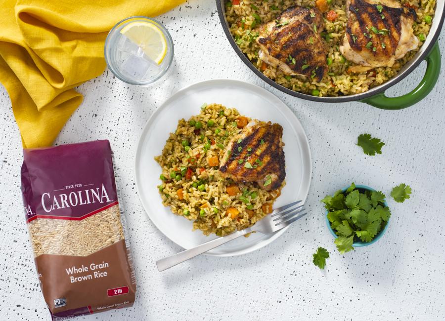 Grilled Chicken Thighs with Arroz Verde