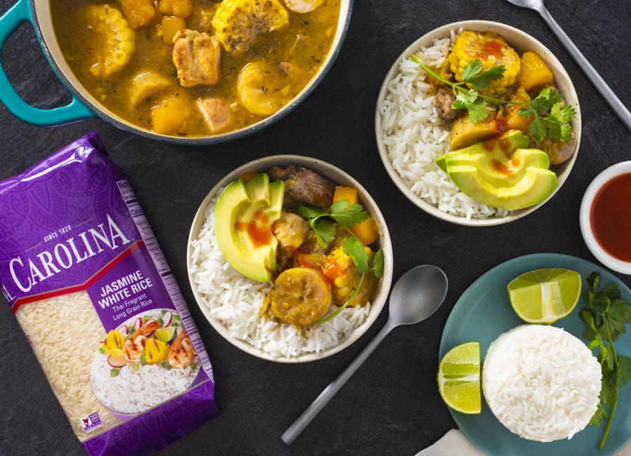dominican-Sancocho-with-jasmine-rice